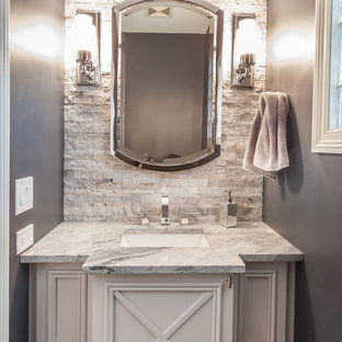 Small classic cloakroom in Chicago with freestanding cabinets, beige tiles, stone tiles, a submerged sink, quartz worktops and white cabinets.