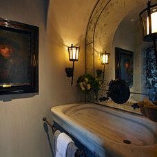 Mediterranean Powder Room by Wendy Black Rodgers Interiors