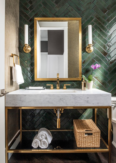 Transitional Powder Room by John McClain Design