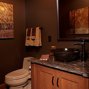 Inspiration for a small traditional cloakroom in Minneapolis with shaker cabinets, light wood cabinets, brown walls, slate flooring, a vessel sink, granite worktops, grey floors and grey worktops.