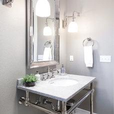 Transitional Powder Room by Tracy Herbert Interiors, LLC