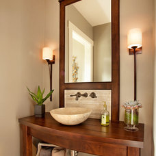 Transitional Powder Room by Garrison Hullinger Interior Design Inc.