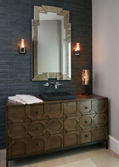 Transitional Powder Room by Knowles Design