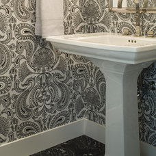 Transitional Powder Room by Shirley Parks Design