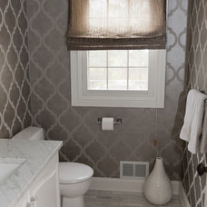 Transitional Powder Room by Stacey Cohen Interior Design
