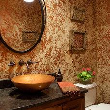 Transitional Powder Room by Suzan J Designs - Decorating Den Interiors