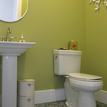 Transitional powder room with Mixed Jade penny tile floor and pedestal sink