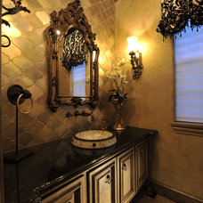 Transitional Powder Room by The Design Firm