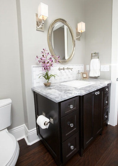 Transitional Powder Room by Fautt Homes