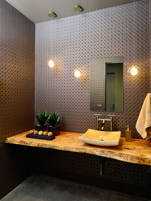Charmant Powder Room   Mid Sized Contemporary Concrete Floor Powder Room Idea In  Other With A