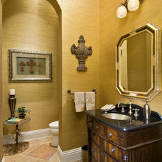 Mediterranean Powder Room by Peggy Oberlin Interiors, Inc.