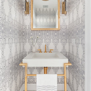 75 Beautiful Powder Room With A Console Sink Pictures