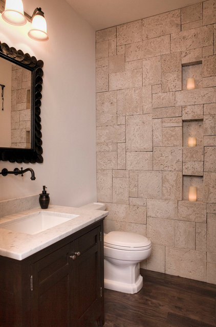 Mediterranean Powder Room by Gary J Ahern, AIA - Focal Point Design