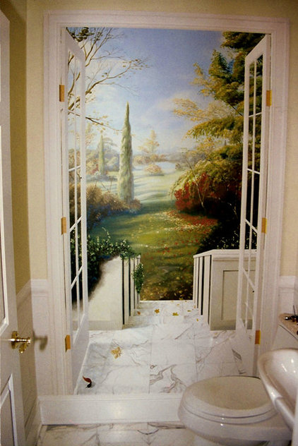 Traditional Powder Room by The Mural Works, Inc.