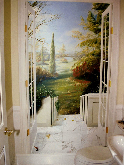 Traditional Powder Room Idea In New York