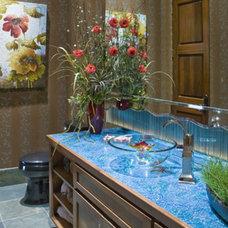 Contemporary Powder Room Tropical Powder room