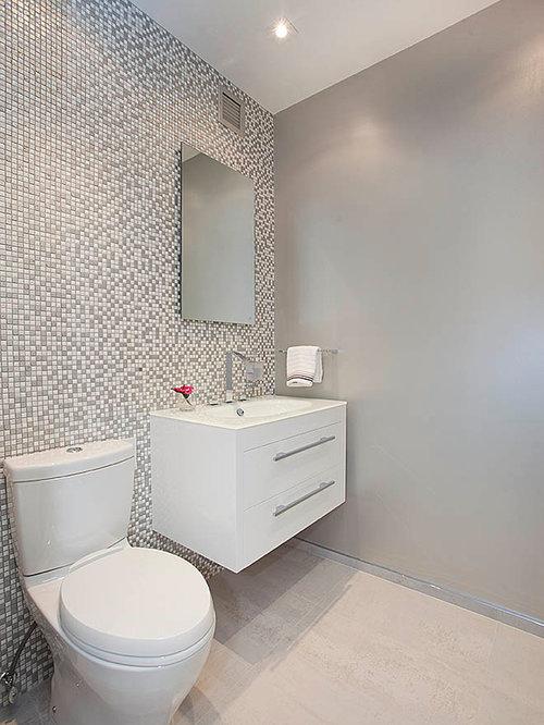 Good Powder Room Flooring Ideas Part - 11: Powder Room - Contemporary Multicolored Tile And Mosaic Tile Light Wood Floor  Powder Room Idea In