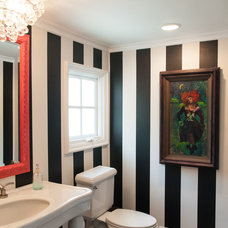 Transitional Powder Room by Lulu Designs