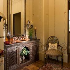 Mediterranean Powder Room by Ellis Custom Homes LLC