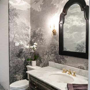 Inspiration for a timeless gray floor powder room remodel in Dallas with furniture-like cabinets, distressed cabinets, a two-piece toilet, multicolored walls, an undermount sink and white countertops