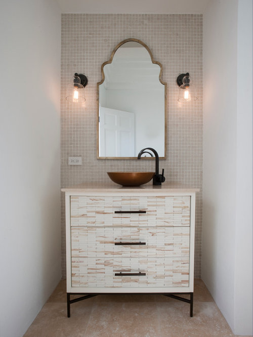Powder Room Design Ideas, Remodels & Photos with a Pedestal Sink and White Cabinets