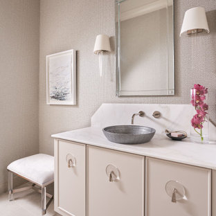 Inspiration for a transitional powder room remodel in Houston