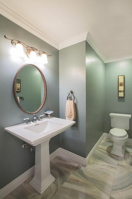 Transitional Powder Room by Hillcrest Design Inc.