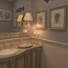 Traditional Powder Room by Kitty Curcio