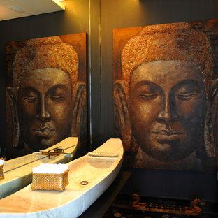 Imagen de aseo de estilo zen con lavabo de seno grande