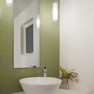 Minimalist powder room photo in Denver with a vessel sink and white countertops