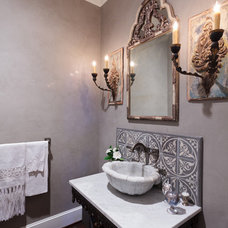 Mediterranean Powder Room by Anything But Plain, Inc.