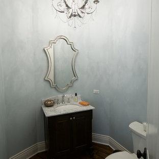На фото: маленький туалет в викторианском стиле с врезной раковиной, фасадами с утопленной филенкой, темными деревянными фасадами, столешницей из гранита, синими стенами, темным паркетным полом и раздельным унитазом
