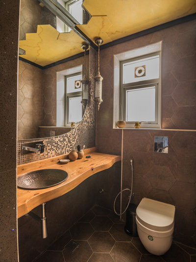 Rustic Powder Room by Roped Design