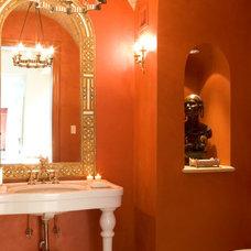 Mediterranean Powder Room by GAA Architects