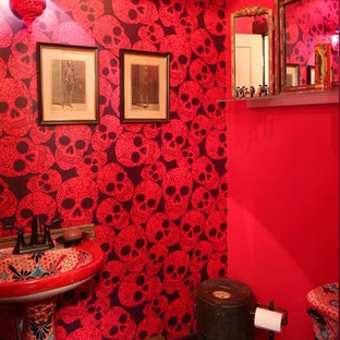 Example of an eclectic powder room design in Denver