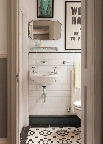 Traditional Powder Room by Herbeau - Winckelmans Tiles - Line Art Vanities