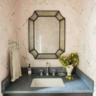 75 Powder Room with Soapstone Countertops and Pink Walls Ideas ... on polished soapstone, dorado soapstone, mariana soapstone,