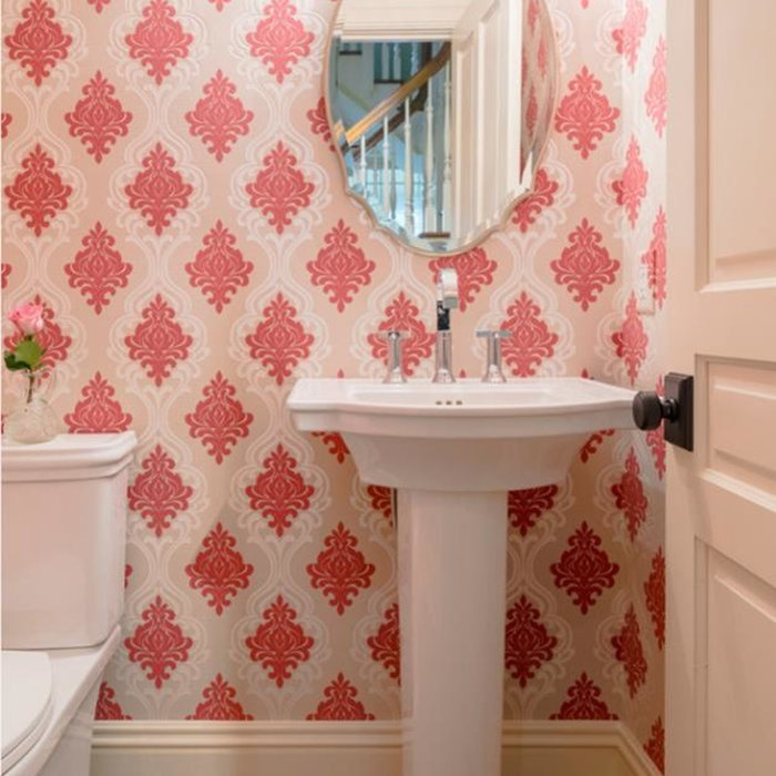 Wallpaper Install: Red & White Damask Powder Room