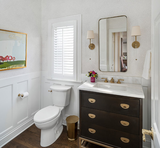 Transitional Powder Room by Plain and Posh