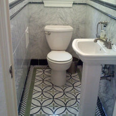 Eclectic Powder Room Waterjet Powder Room