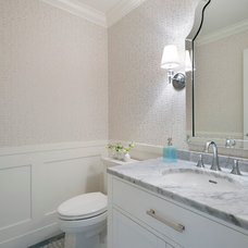 Transitional Powder Room by Sarah Gallop Design Inc.