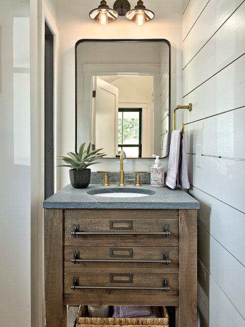 photos et id es d co de wc et toilettes campagne avec un placard en trompe l 39 oeil. Black Bedroom Furniture Sets. Home Design Ideas
