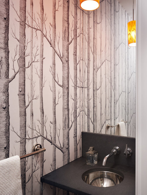 Wallpaper Powder Room Home Design Ideas Pictures Remodel