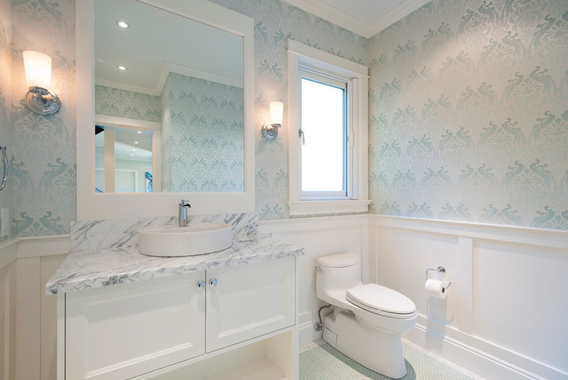 Transitional Powder Room by Sarah Gallop Design Inc