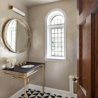 Inspiration for a transitional powder room remodel in New York