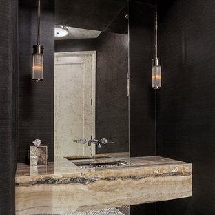 Idee per un bagno di servizio minimalista di medie dimensioni con nessun'anta, pavimento con piastrelle in ceramica, lavabo sottopiano, top in onice, pavimento multicolore e top multicolore