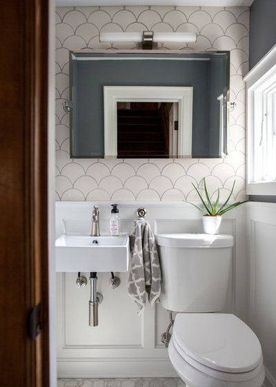 Transitional Powder Room by Mercury Mosaics and Tile