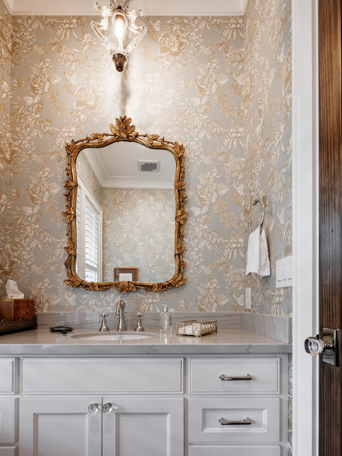 Inspiration For A Transitional Powder Room Remodel In Houston With  Recessed Panel Cabinets, White