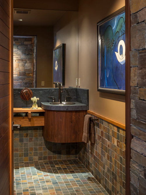 Rustic Powder Room Design Ideas, Remodels & Photos with Mosaic Tile