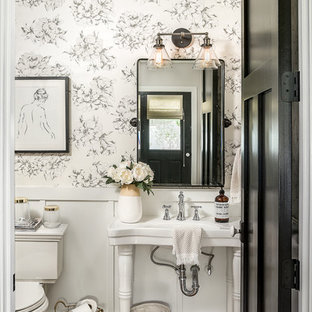 75 Most Popular Farmhouse Powder Room With A Pedestal Sink